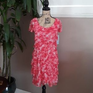 London Times Pink Floral Tiered Dress